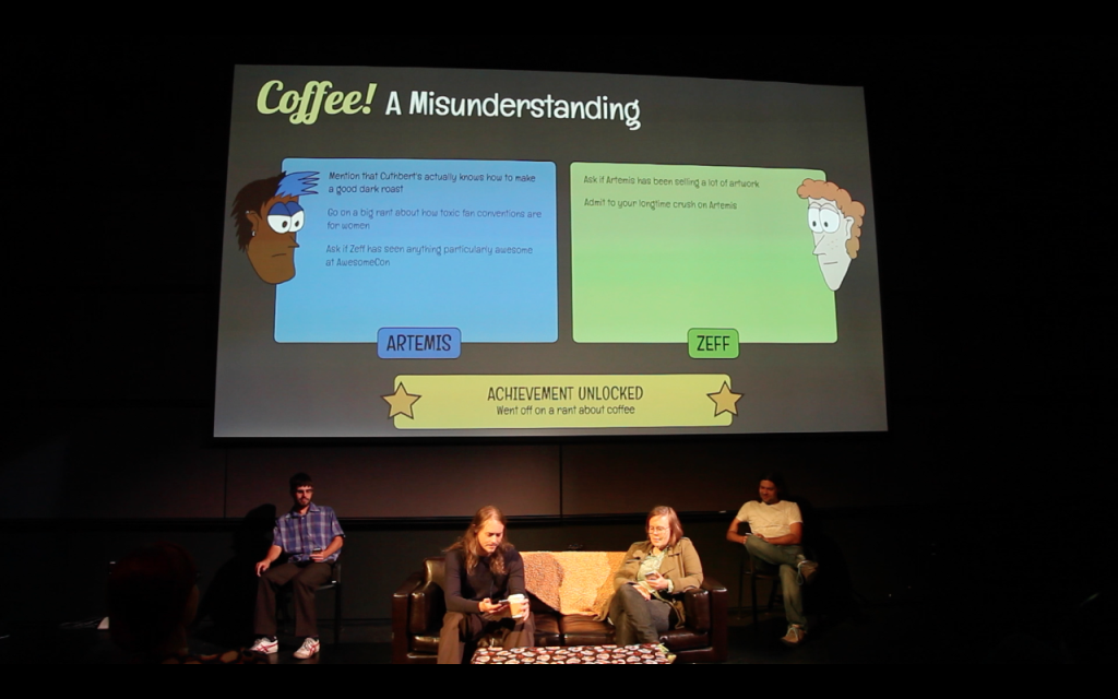 "Players and puppeteers in a performance of ""Coffee: A Misunderstanding"""